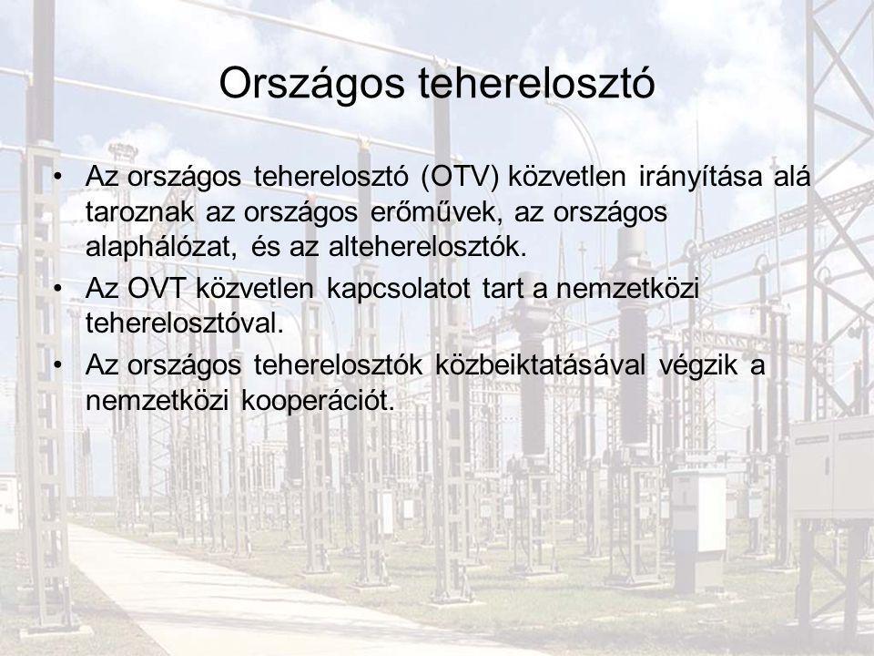 Országos teherelosztó Az országos teherelosztó (OTV) közvetlen irányítása alá taroznak az országos erőművek, az országos alaphálózat, és az alteherelo