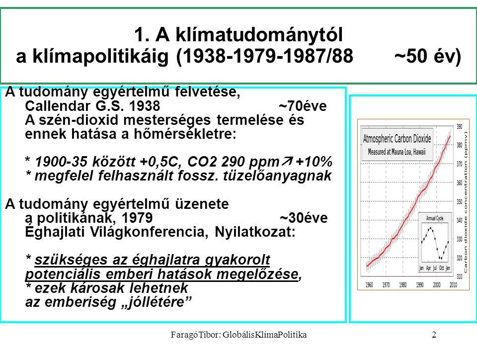 FaragóTibor: GlobálisKlímaPolitika2 1. A klímatudománytól a klímapolitikáig (1938-1979-1987/88 ~50 év) A tudomány egyértelmű felvetése, Callendar G.S.