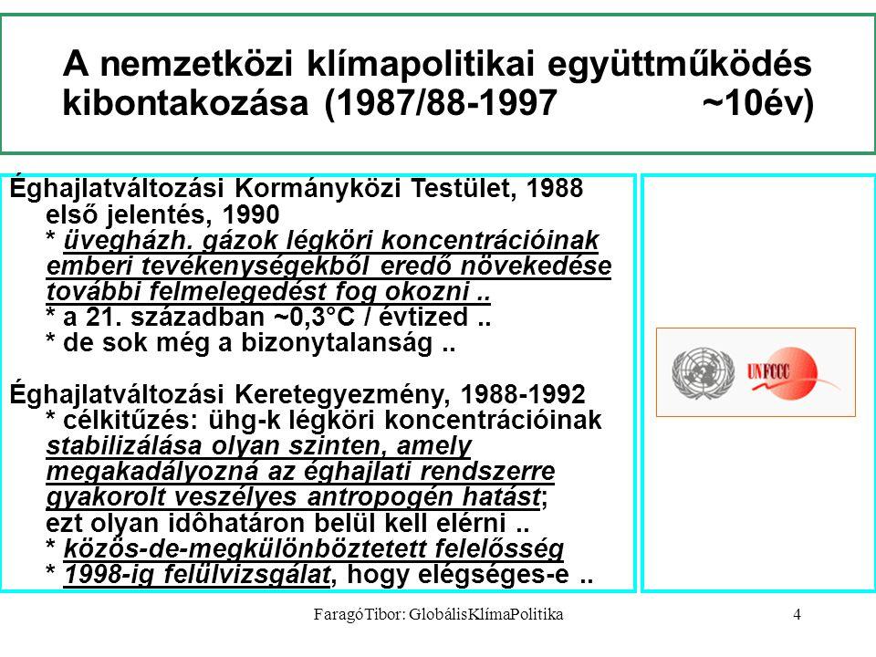 FaragóTibor: GlobálisKlímaPolitika4 A nemzetközi klímapolitikai együttműködés kibontakozása (1987/88-1997 ~10év) Éghajlatváltozási Kormányközi Testület, 1988 első jelentés, 1990 * üvegházh.