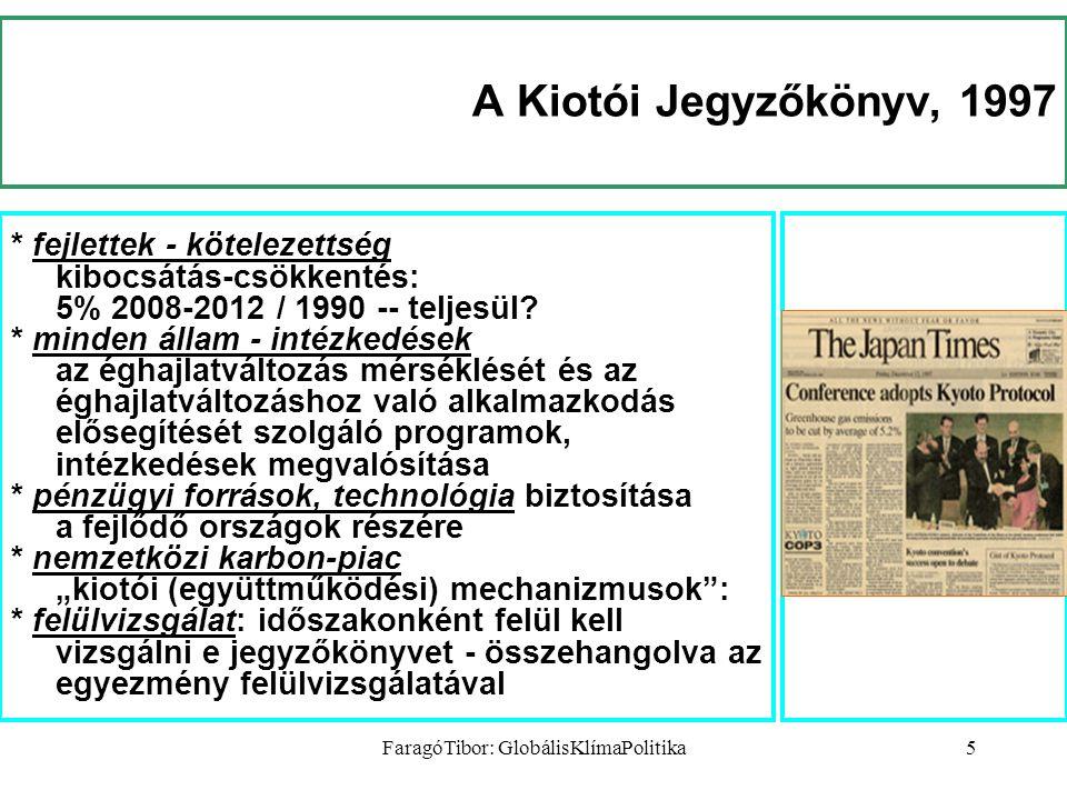 FaragóTibor: GlobálisKlímaPolitika5 A Kiotói Jegyzőkönyv, 1997 * fejlettek - kötelezettség kibocsátás-csökkentés: 5% 2008-2012 / 1990 -- teljesül.