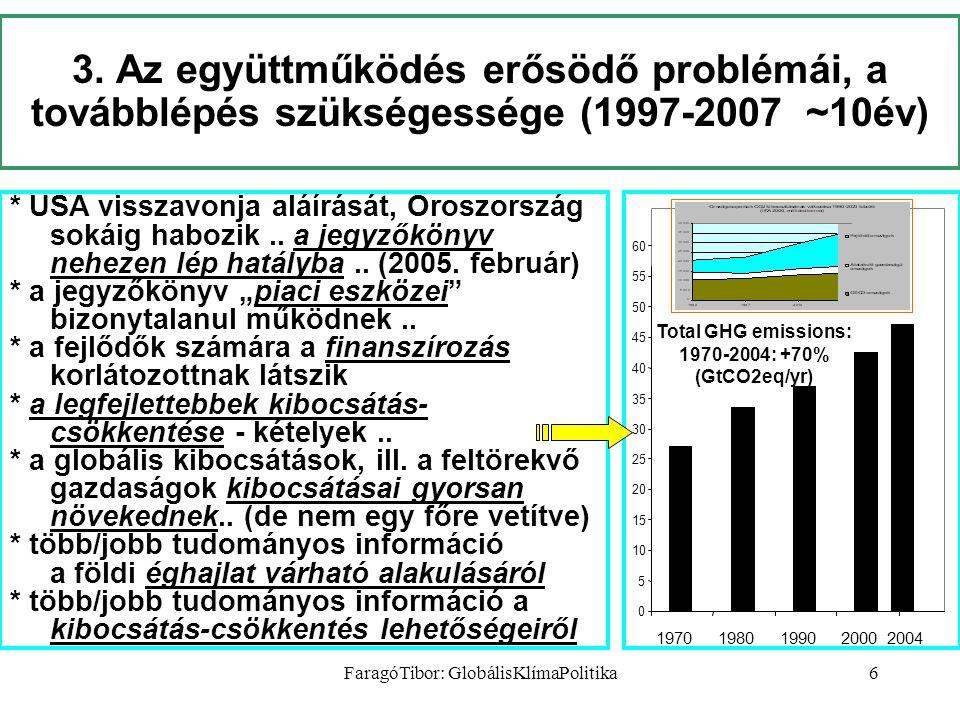 FaragóTibor: GlobálisKlímaPolitika6 3. Az együttműködés erősödő problémái, a továbblépés szükségessége (1997-2007 ~10év) * USA visszavonja aláírását,