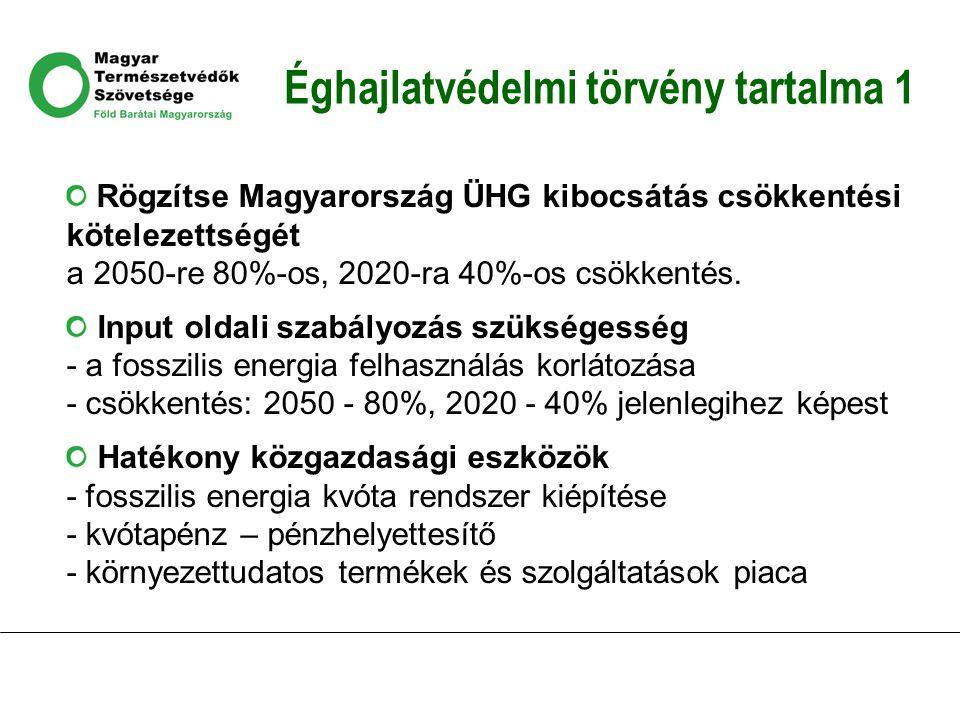 Éghajlatvédelmi törvény tartalma 1 Rögzítse Magyarország ÜHG kibocsátás csökkentési kötelezettségét a 2050-re 80%-os, 2020-ra 40%-os csökkentés.