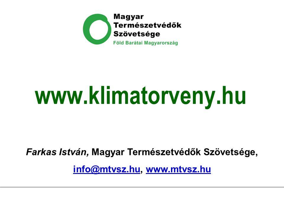 www.klimatorveny.hu Farkas István, Magyar Természetvédők Szövetsége, info@mtvsz.huinfo@mtvsz.hu, www.mtvsz.huwww.mtvsz.hu