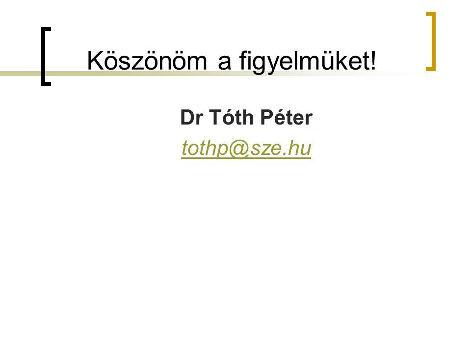 Köszönöm a figyelmüket! Dr Tóth Péter tothp@sze.hu