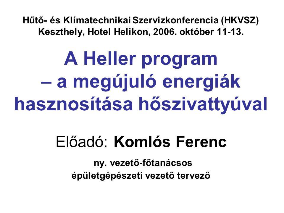 Hűtő- és Klímatechnikai Szervizkonferencia (HKVSZ) Keszthely, Hotel Helikon, 2006. október 11-13. A Heller program – a megújuló energiák hasznosítása