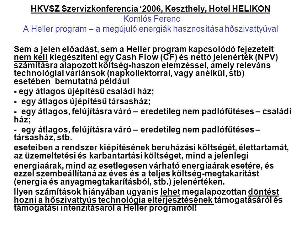 HKVSZ Szervizkonferencia '2006, Keszthely, Hotel HELIKON Komlós Ferenc A Heller program – a megújuló energiák hasznosítása hőszivattyúval Sem a jelen
