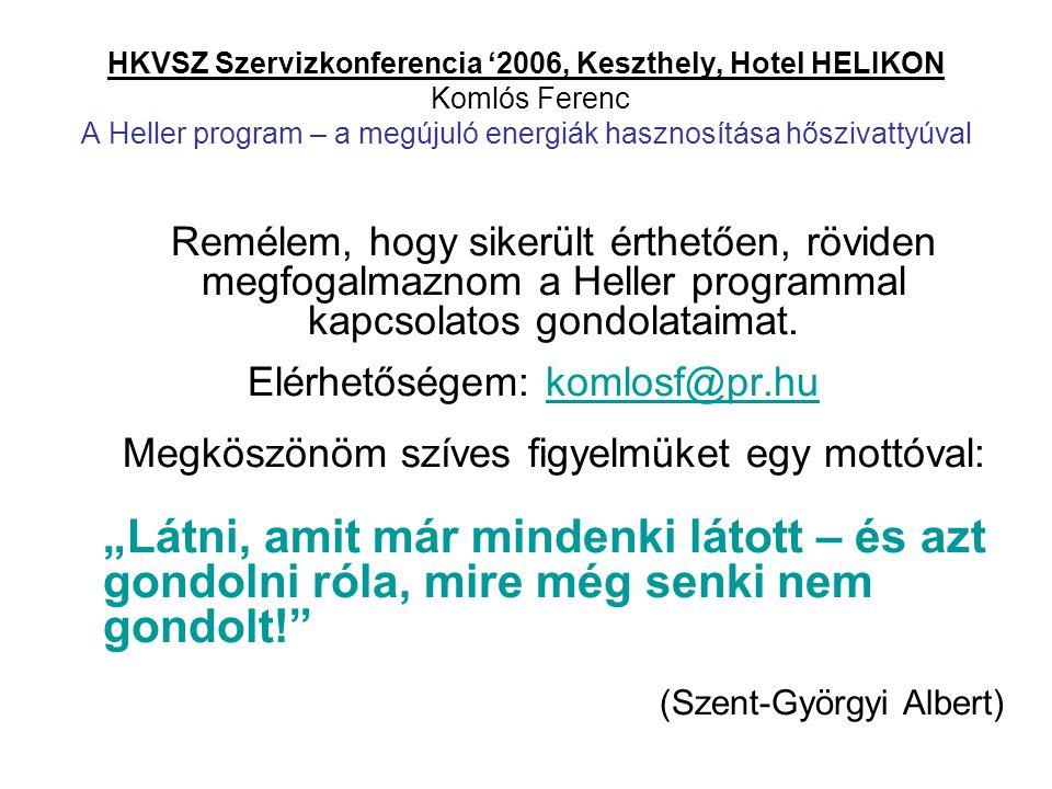 HKVSZ Szervizkonferencia '2006, Keszthely, Hotel HELIKON Komlós Ferenc A Heller program – a megújuló energiák hasznosítása hőszivattyúval Remélem, hog