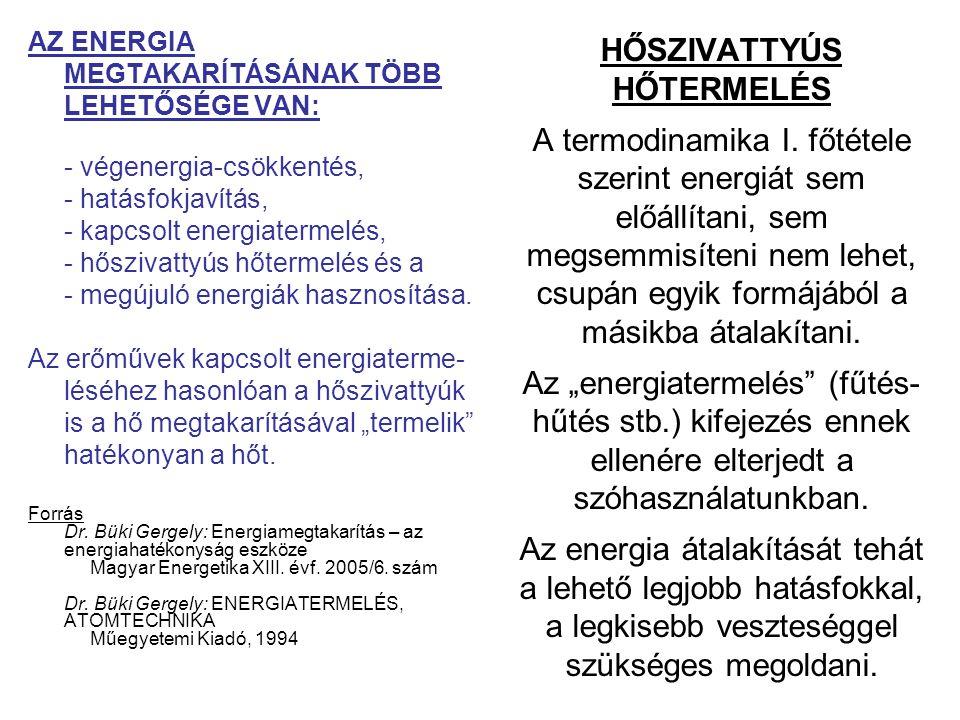HŐSZIVATTYÚS HŐTERMELÉS A termodinamika I. főtétele szerint energiát sem előállítani, sem megsemmisíteni nem lehet, csupán egyik formájából a másikba