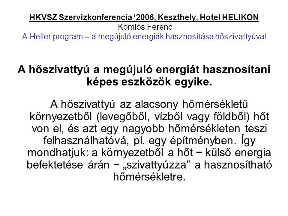 HKVSZ Szervizkonferencia '2006, Keszthely, Hotel HELIKON Komlós Ferenc A Heller program – a megújuló energiák hasznosítása hőszivattyúval A hőszivatty