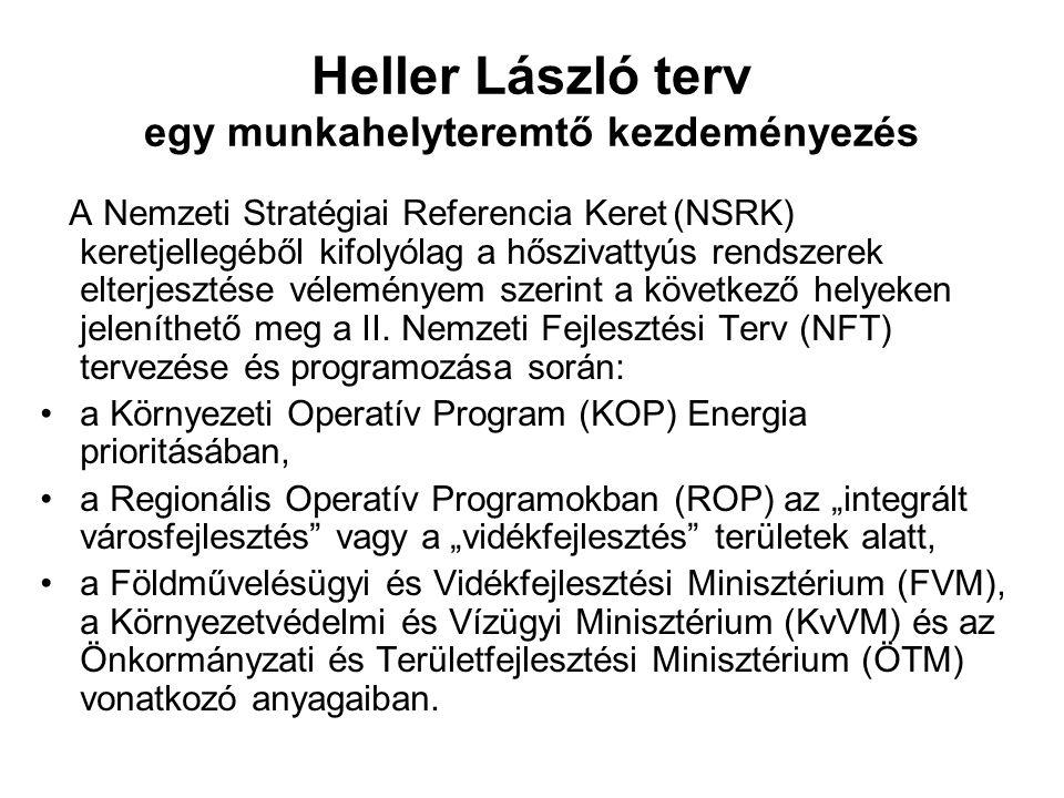 Heller László terv egy munkahelyteremtő kezdeményezés A Nemzeti Stratégiai Referencia Keret (NSRK) keretjellegéből kifolyólag a hőszivattyús rendszerek elterjesztése véleményem szerint a következő helyeken jeleníthető meg a II.