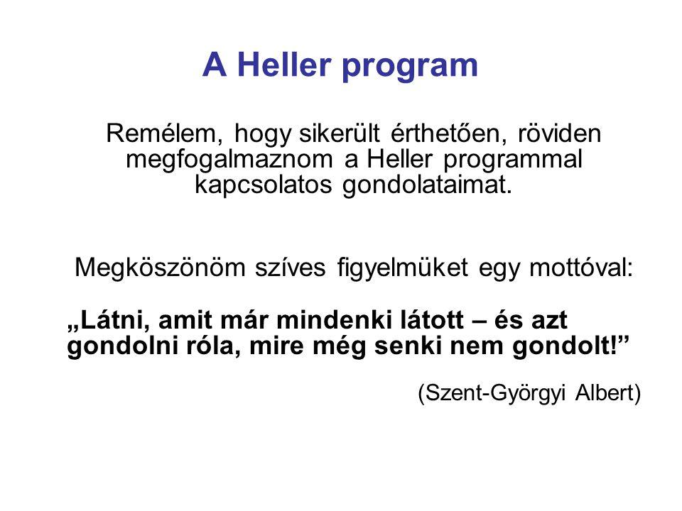 A Heller program Remélem, hogy sikerült érthetően, röviden megfogalmaznom a Heller programmal kapcsolatos gondolataimat.