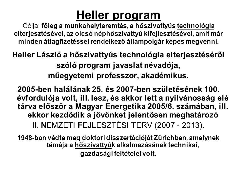 Heller program Célja: főleg a munkahelyteremtés, a hőszivattyús technológia elterjesztésével, az olcsó néphőszivattyú kifejlesztésével, amit már minden átlagfizetéssel rendelkező állampolgár képes megvenni.