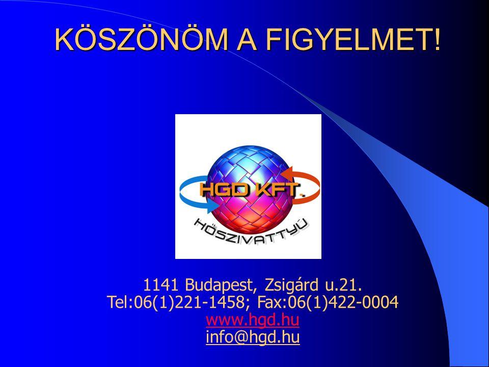 1141 Budapest, Zsigárd u.21. Tel:06(1)221-1458; Fax:06(1)422-0004 www.hgd.hu www.hgd.hu info@hgd.hu KÖSZÖNÖM A FIGYELMET!