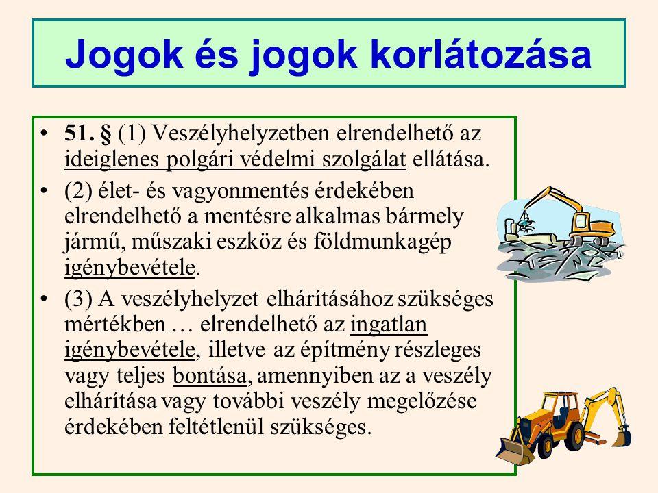 49.§ (7) Veszélyhelyzetben elrendelhető a vasúti, közúti, vízi, légi szállítások biztosítása érdekében a javítókapacitások, valamint az állomások, kikötők, repülőterek, raktárak igénybevétele vagy használatának korlátozása.