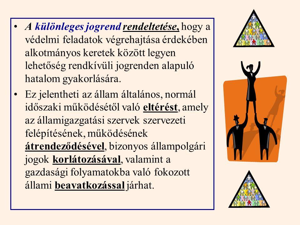 Jogszabályi háttere Magyarország Alaptörvénye 2011. évi CXIII. Törvény a honvédelemről és a Magyar Honvédségről, valamint a különleges jogrendben beve