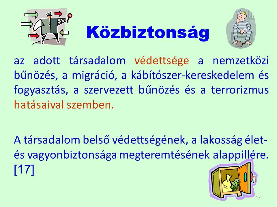 17 Közbiztonság az adott társadalom védettsége a nemzetközi bűnözés, a migráció, a kábítószer-kereskedelem és fogyasztás, a szervezett bűnözés és a te