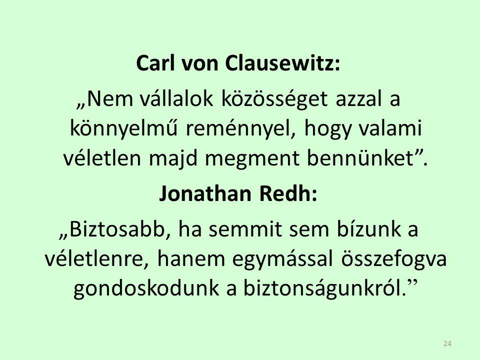 """24 Carl von Clausewitz: """"Nem vállalok közösséget azzal a könnyelmű reménnyel, hogy valami véletlen majd megment bennünket"""". Jonathan Redh: """"Biztosabb,"""