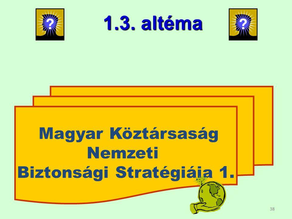 38 Magyar Köztársaság Nemzeti Biztonsági Stratégiája 1. 1.3. altéma