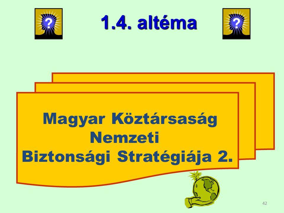 42 Magyar Köztársaság Nemzeti Biztonsági Stratégiája 2. 1.4. altéma