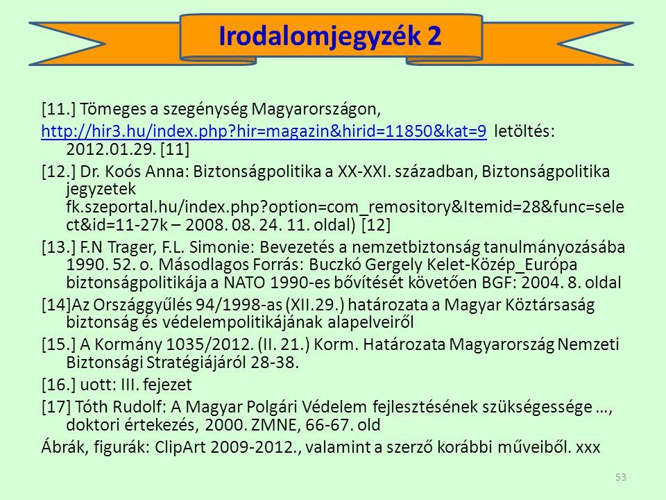 53 [11.] Tömeges a szegénység Magyarországon, http://hir3.hu/index.php?hir=magazin&hirid=11850&kat=9http://hir3.hu/index.php?hir=magazin&hirid=11850&kat=9 letöltés: 2012.01.29.
