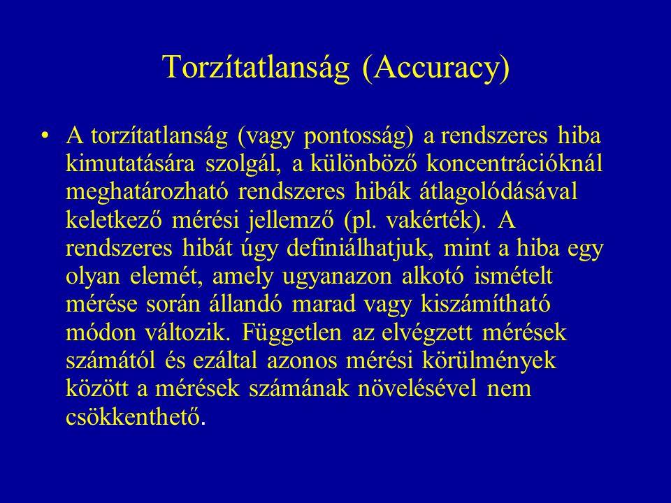 Torzítatlanság (Accuracy) A torzítatlanság (vagy pontosság) a rendszeres hiba kimutatására szolgál, a különböző koncentrációknál meghatározható rendsz