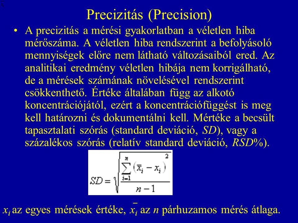 Precizitás (Precision) A precizitás a mérési gyakorlatban a véletlen hiba mérőszáma. A véletlen hiba rendszerint a befolyásoló mennyiségek előre nem l