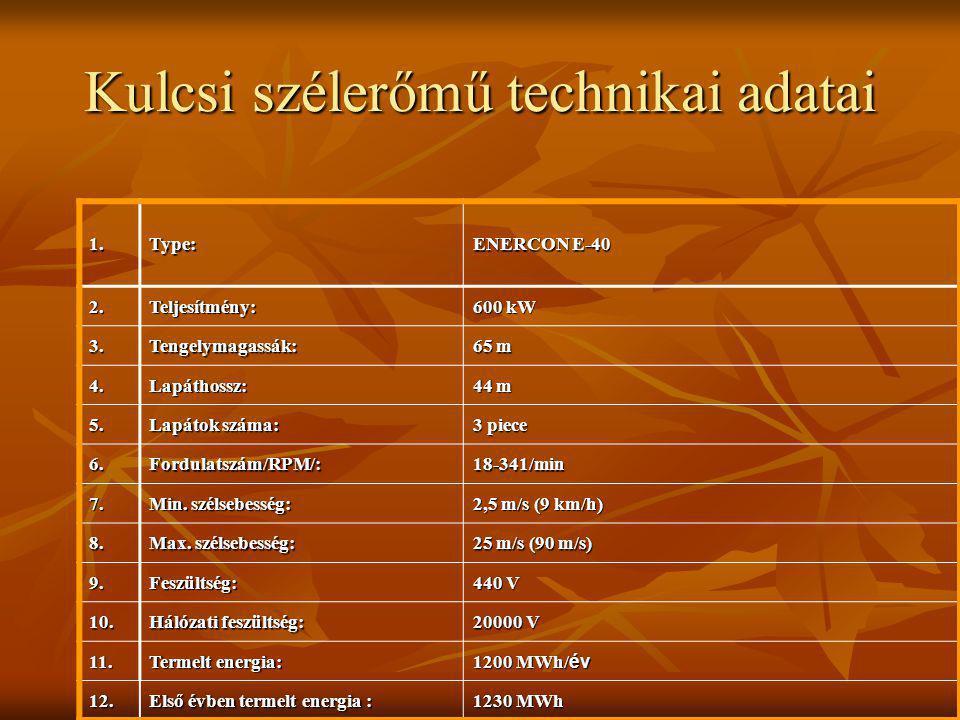Kulcsi szélerőmű technikai adatai 1.Type: ENERCON E-40 2. Teljesítmény: 600 kW 3. Tengelymagassák: 65 m 4. Lapáthossz: 44 m 5. Lapátok száma: 3 piece
