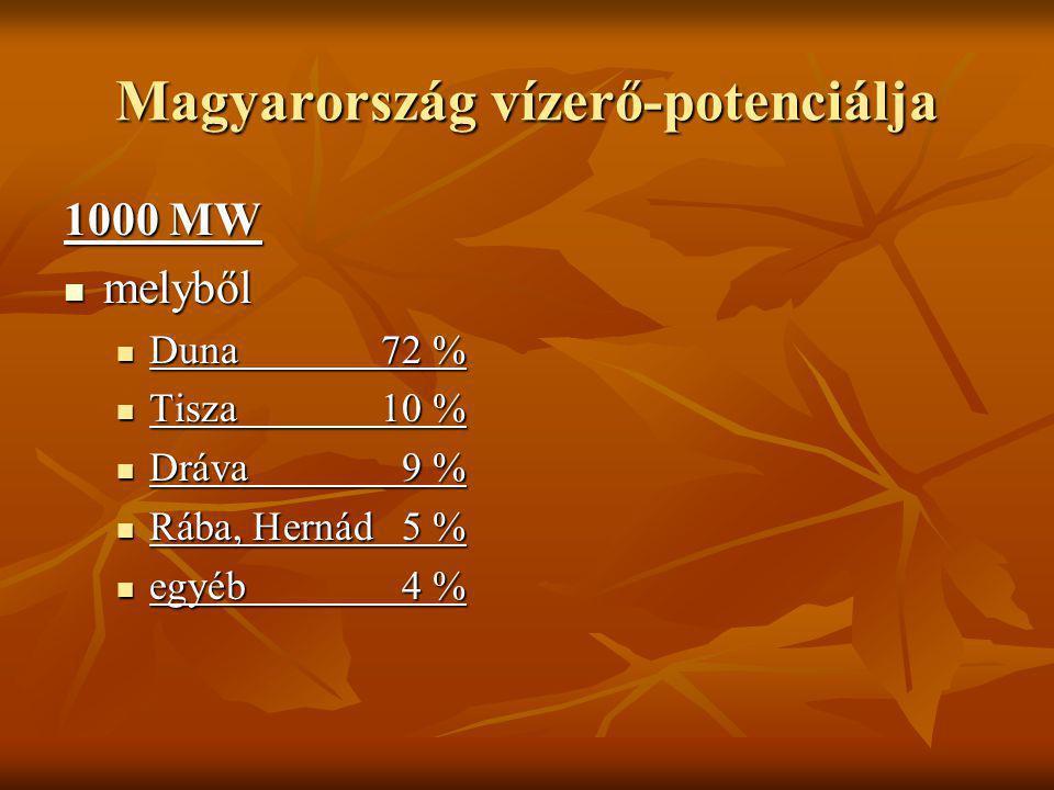 Magyarország vízerő-potenciálja 1000 MW melyből melyből Duna72 % Duna72 % Tisza10 % Tisza10 % Dráva 9 % Dráva 9 % Rába, Hernád5 % Rába, Hernád5 % egyé