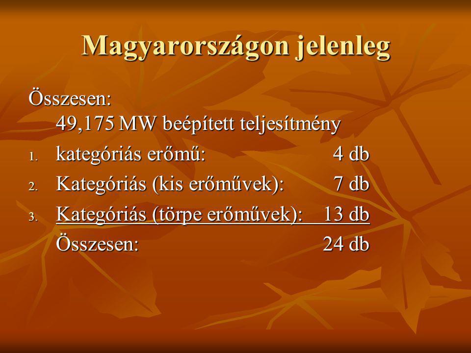 Magyarországon jelenleg Összesen: 49,175 MW beépített teljesítmény 1. kategóriás erőmű:4 db 2. Kategóriás (kis erőművek):7 db 3. Kategóriás (törpe erő