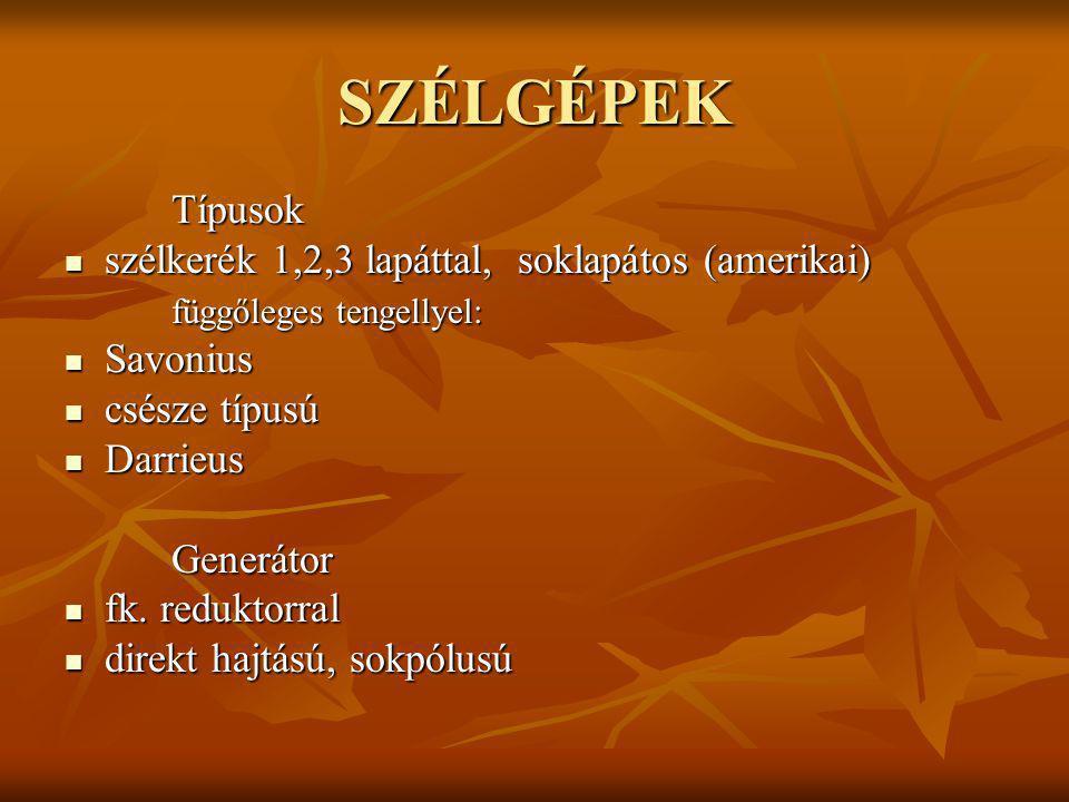 SZÉLTURBINA SZERKEZETE 1. Alap 2. Torony 3. Gondola