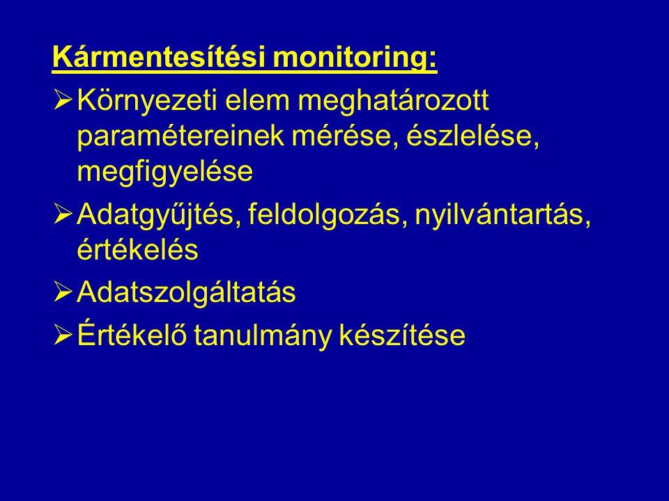 Kármentesítési monitoring:  Környezeti elem meghatározott paramétereinek mérése, észlelése, megfigyelése  Adatgyűjtés, feldolgozás, nyilvántartás, értékelés  Adatszolgáltatás  Értékelő tanulmány készítése