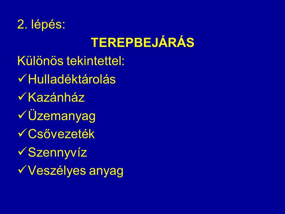 2. lépés: TEREPBEJÁRÁS Különös tekintettel: Hulladéktárolás Kazánház Üzemanyag Csővezeték Szennyvíz Veszélyes anyag