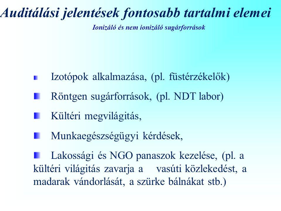 Ionizáló és nem ionizáló sugárforrások Auditálási jelentések fontosabb tartalmi elemei Izotópok alkalmazása, (pl.