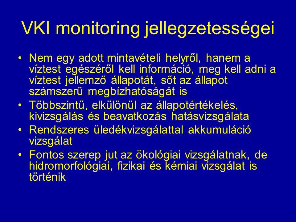 VKI monitoring jellegzetességei Nem egy adott mintavételi helyről, hanem a víztest egészéről kell információ, meg kell adni a víztest jellemző állapot