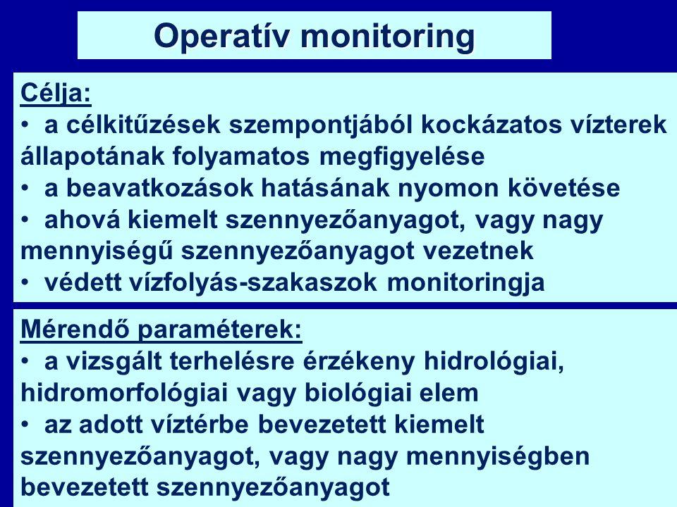 Operatív monitoring Mérendő paraméterek: a vizsgált terhelésre érzékeny hidrológiai, hidromorfológiai vagy biológiai elem az adott víztérbe bevezetett
