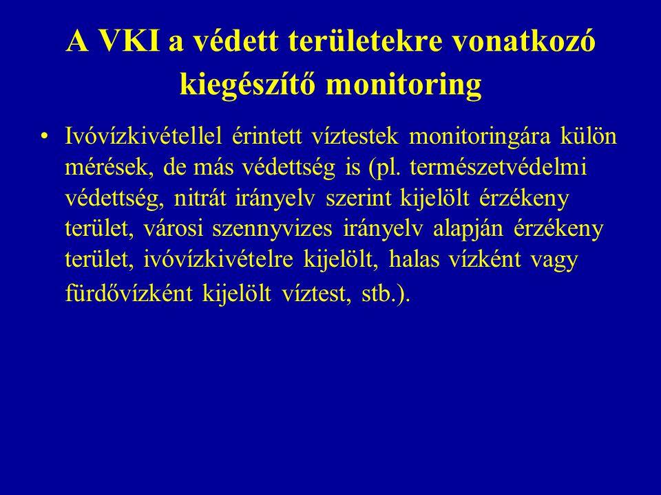 A VKI a védett területekre vonatkozó kiegészítő monitoring Ivóvízkivétellel érintett víztestek monitoringára külön mérések, de más védettség is (pl. t