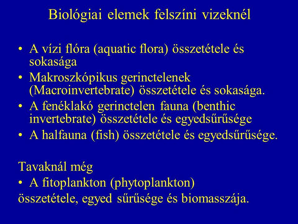 Biológiai elemek felszíni vizeknél A vízi flóra (aquatic flora) összetétele és sokasága Makroszkópikus gerinctelenek (Macroinvertebrate) összetétele é