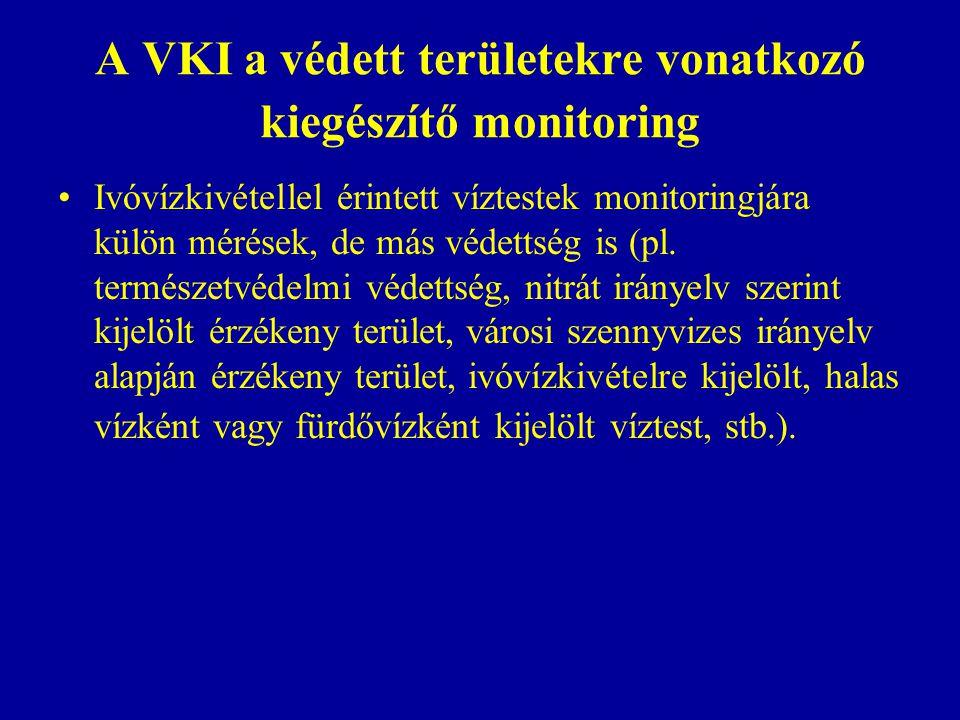 A VKI a védett területekre vonatkozó kiegészítő monitoring Ivóvízkivétellel érintett víztestek monitoringjára külön mérések, de más védettség is (pl.