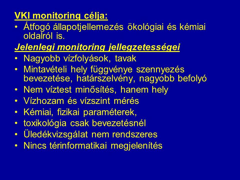 VKI monitoring célja: Átfogó állapotjellemezés ökológiai és kémiai oldalról is. Jelenlegi monitoring jellegzetességei Nagyobb vízfolyások, tavak Minta