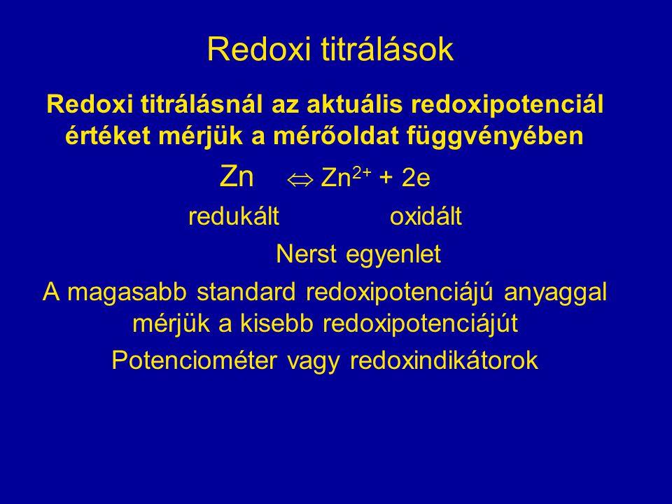 Redoxi titrálások Redoxi titrálásnál az aktuális redoxipotenciál értéket mérjük a mérőoldat függvényében Zn  Zn 2+ + 2e redukáltoxidált Nerst egyenle