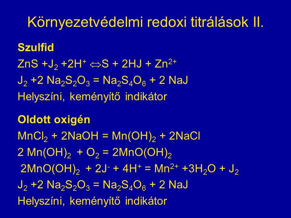 Környezetvédelmi redoxi titrálások II. Szulfid ZnS +J 2 +2H +  S + 2HJ + Zn 2+ J 2 +2 Na 2 S 2 O 3 = Na 2 S 4 O 6 + 2 NaJ Helyszíni, keményítő indiká