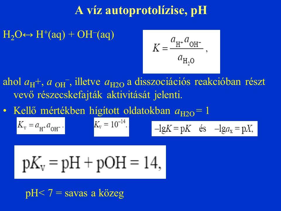 A víz autoprotolízise, pH H 2 O↔ H + (aq) + OH – (aq) ahol a H +, a OH –, illetve a H2O a disszociációs reakcióban részt vevő részecskefajták aktivitá