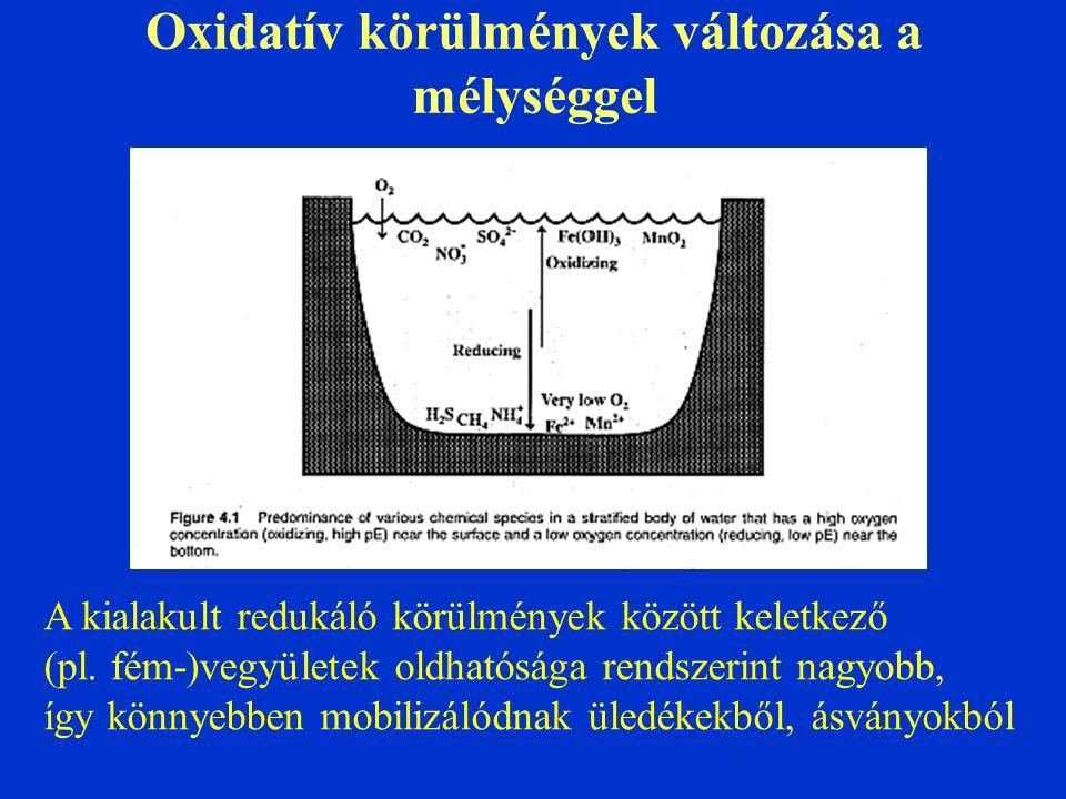 Oxidatív körülmények változása a mélységgel A kialakult redukáló körülmények között keletkező (pl. fém-)vegyületek oldhatósága rendszerint nagyobb, íg