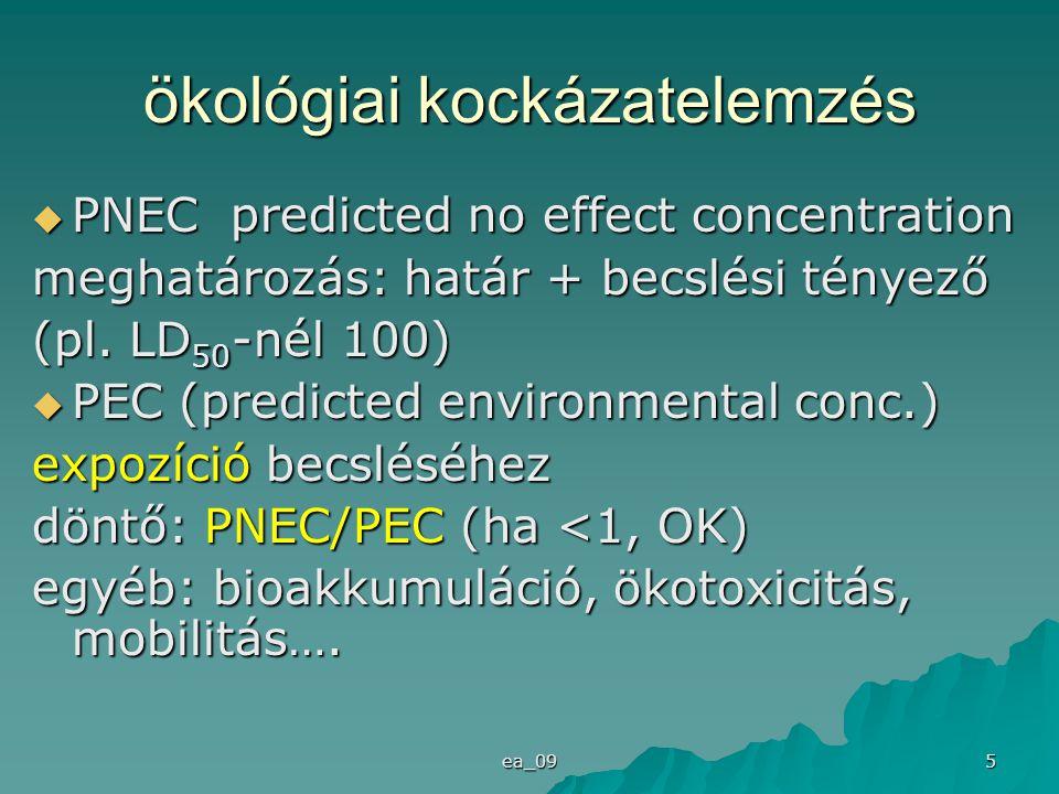 ea_09 6 (emberi) egészségkockázat  akut/ szubakut/ krónikus hatások  dózis-hatás kapcsolat  NOAEL  ADI (napi elfogadható bek.) no observed adverse effect level expozíció becslése:  PDI (teljes becsült napi bekerülés) jellemző: PDI/ADI arány