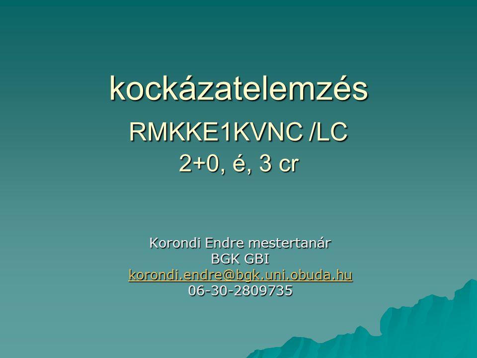 kockázatelemzés RMKKE1KVNC /LC 2+0, é, 3 cr Korondi Endre mestertanár BGK GBI korondi.endre@bgk.uni.obuda.hu 06-30-2809735