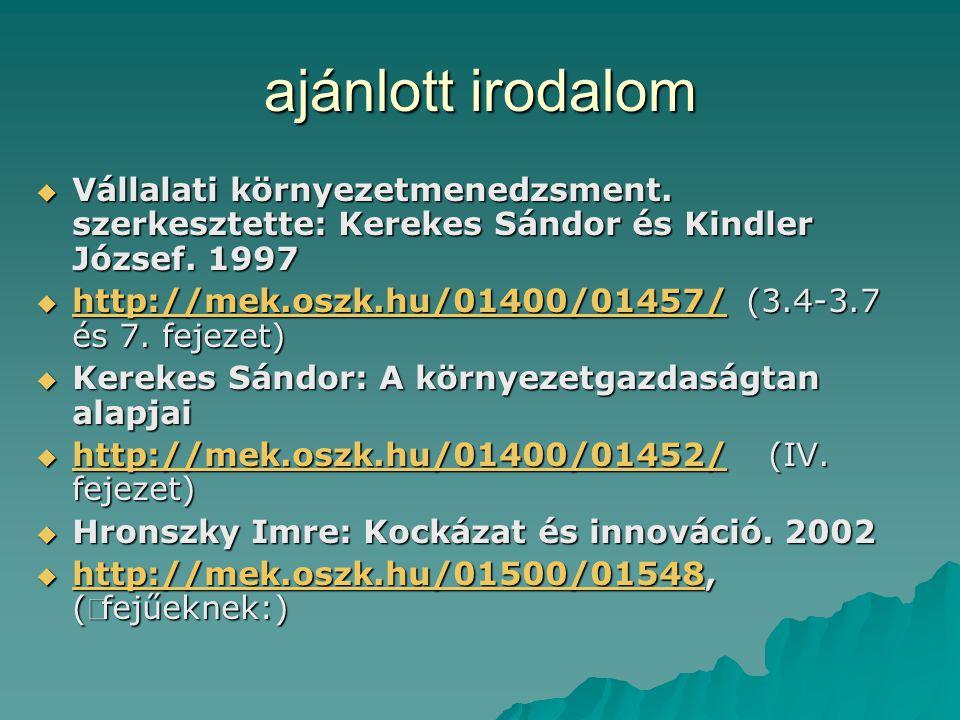 ajánlott irodalom  Vállalati környezetmenedzsment. szerkesztette: Kerekes Sándor és Kindler József. 1997  http://mek.oszk.hu/01400/01457/ (3.4-3.7 é