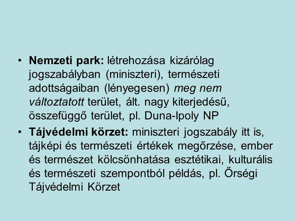 Nemzeti park: létrehozása kizárólag jogszabályban (miniszteri), természeti adottságaiban (lényegesen) meg nem változtatott terület, ált.