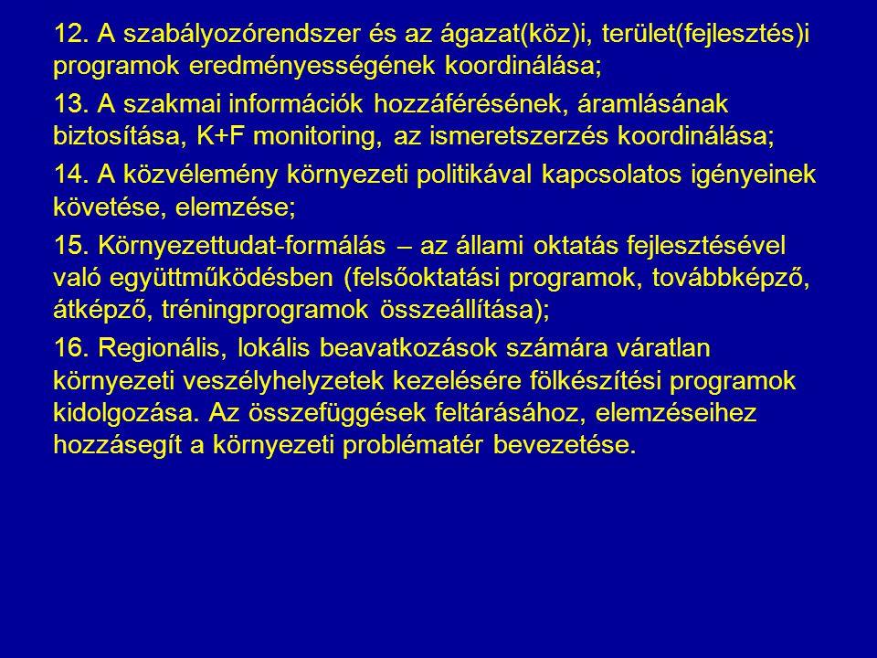 12. A szabályozórendszer és az ágazat(köz)i, terület(fejlesztés)i programok eredményességének koordinálása; 13. A szakmai információk hozzáférésének,