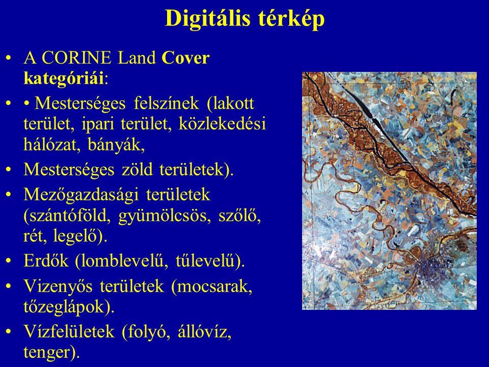 Digitális térkép A CORINE Land Cover kategóriái: Mesterséges felszínek (lakott terület, ipari terület, közlekedési hálózat, bányák, Mesterséges zöld területek).