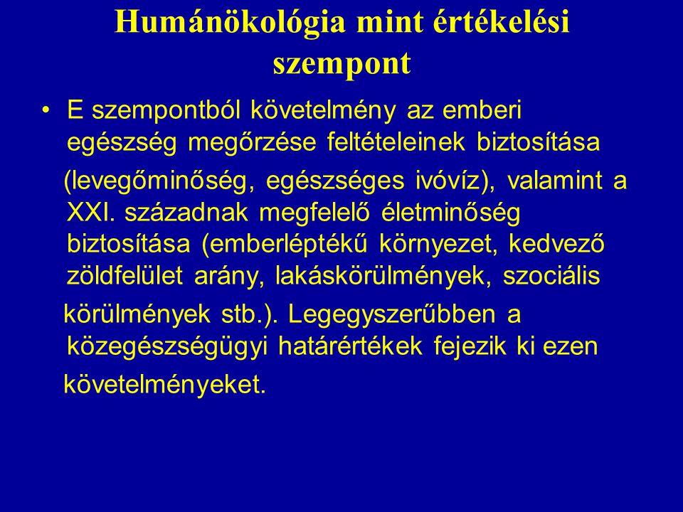 Humánökológia mint értékelési szempont E szempontból követelmény az emberi egészség megőrzése feltételeinek biztosítása (levegőminőség, egészséges ivóvíz), valamint a XXI.